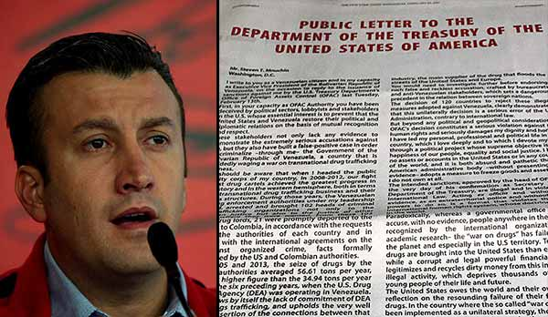 Tareck El Aissami respondió al Departamento de Estado de EEUU en carta pública