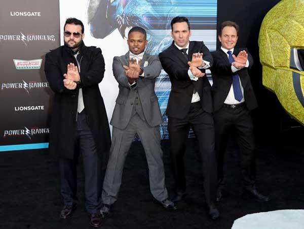 Austin St. John (Ranger rojo), Walter Jones (Ranger negro), Jason David Frank (Ranger verde) y David Yost (Ranger azul) | Foto: AFP