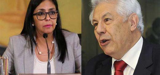 Delcy Rodríguez / Presidente de Parlasur, Arlindo Chinaglia   Composición: NotiTotal