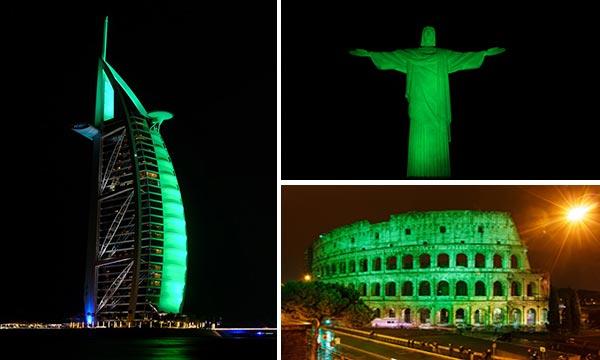 Monumentos se encienden de verde en honor a San Patricio | Composición