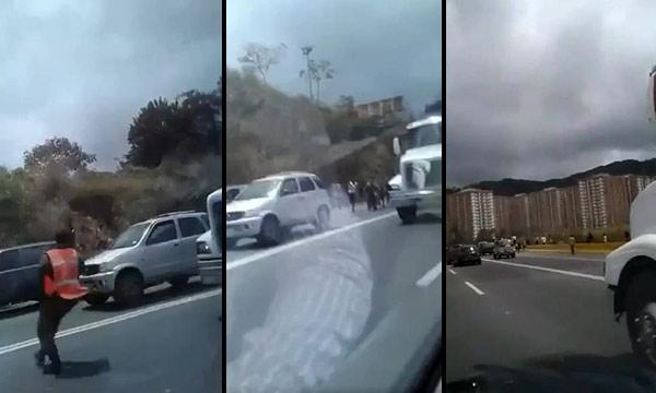 lanzan piedras a los vehículos en la bajada de Tazón | Composición Notitotal