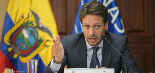 Guillaume Long, ministro de Exteriores de Ecuador   Foto: cancillería de Ecuador