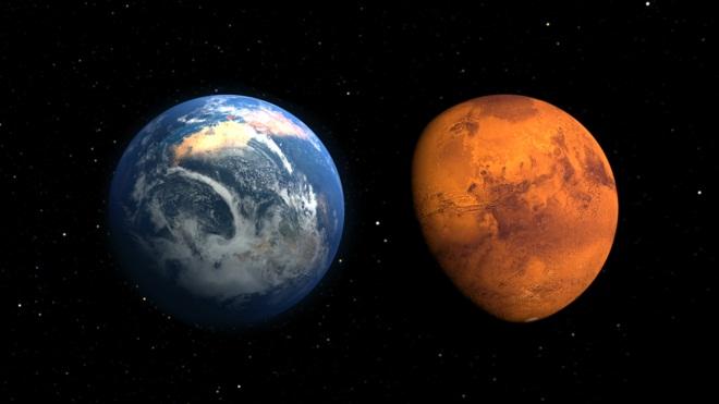 Marte en el pasado y ahora, según una ilustración de la NASA. El planeta rojo tuvo en el pasado una atmósfera y océanos.|NASA