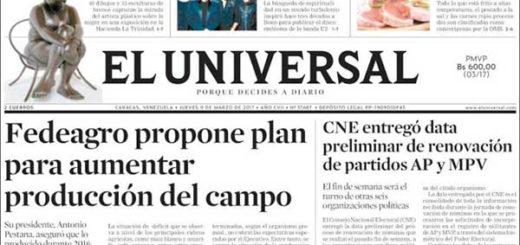 Portadas de diarios nacionales e internacionales de este jueves | Créditos: El Universal