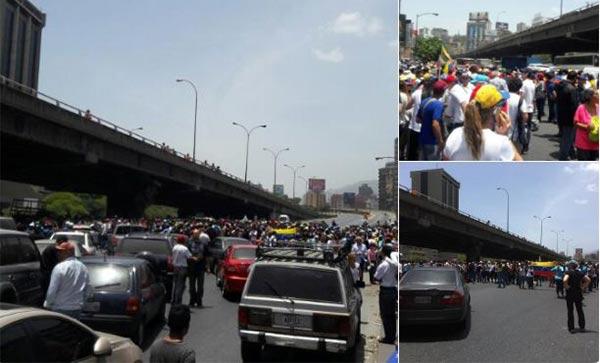 Manifestantes trancan la autopista Francisco Fajardo: Capriles, Machado y Tintori encabezan la protesta   Fotos: Twitter