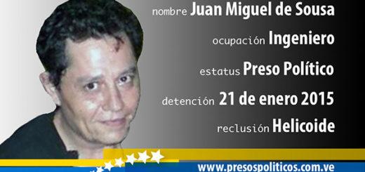 Preso político Juan Miguel De Sousa | Imagen: presospolíticos.com.ve