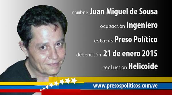 Preso político Juan Miguel De Sousa | Imagen: presospolíticos.com