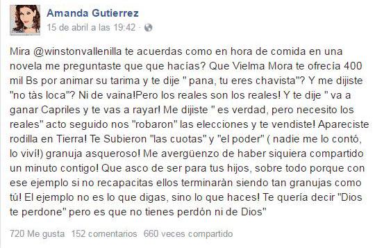 El mensaje de Amanda Gutiérrez | Créditos: Facebook