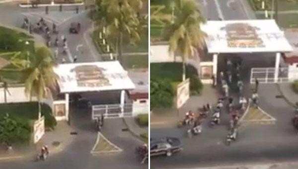 Colectivos saliendo del Comando de la GN en Barquisimeto | Foto: Captura de video