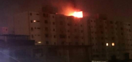 Incendio en edificio de la Urb. Sucre, en Barquisimeto | Foto: Twitter