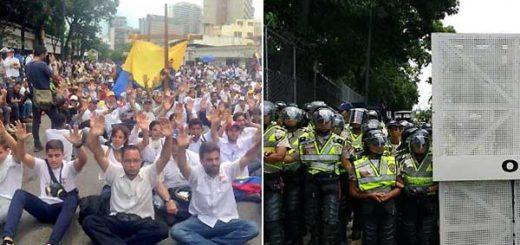 Piquete de la PNB impedía paso de la marcha / Foto: Twitter