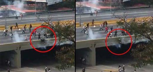 Joven cayó al vacío en la autopista Francisco Fajardo   Captura de video