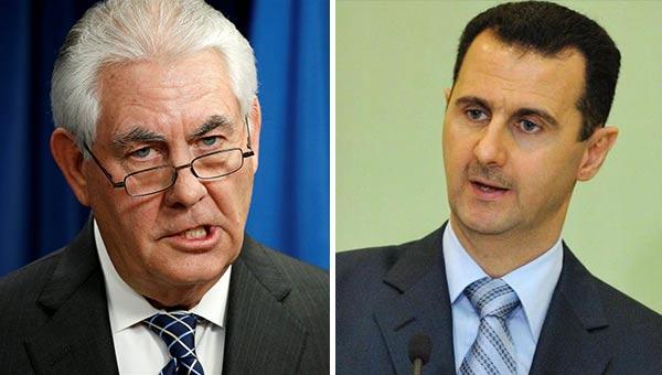 Tillerson, secretario del departamento de Estado de EEUU y Bashar Al Asad