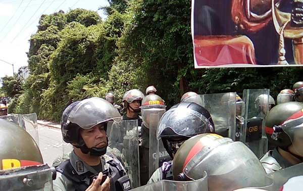 Piquete de la GNB impide movilización opositora en Cumbres de Curumo | Foto: @unidadvenezuela