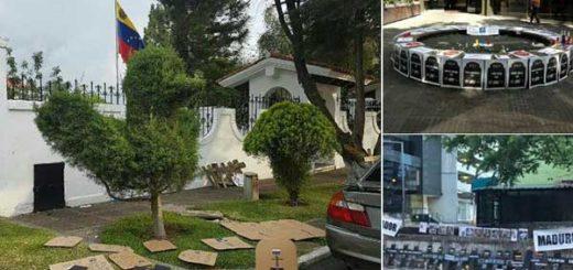 Así amanecieron las Embajadas de Venezuela en España, Panamá y Guatemala | Foto: Twitter