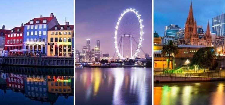 Copenhague - Singapur - Melbourne (de izquierda a derecha)  Composición: La Bioguía