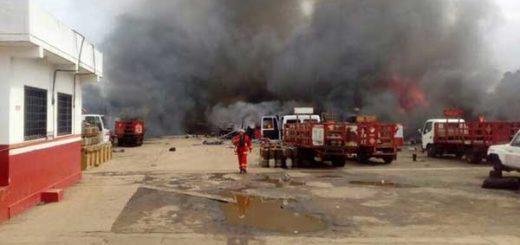Reportan incendio en planta de llenado de Pdvsa Gas Comunal en San Félix | Foto: Twitter