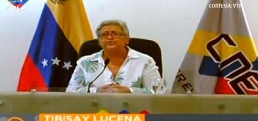 Presidenta del Consejo Nacional Electoral, Tibisay Lucena |Captura de video