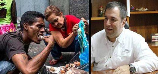Viceministro chavista, Yván Gil/ venezolanos comiendo de la basura |Composición: Notitotal
