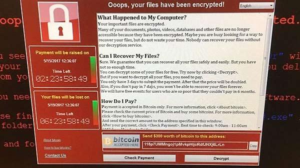 Así lucían las pantallas de los que recibieron el virus. Les exigían el pago de US$300, o sus archivos serían destruidos   PA