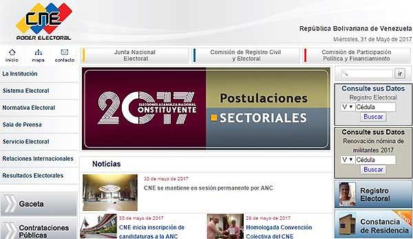 Página del CNE  | Foto: Captura de pantalla