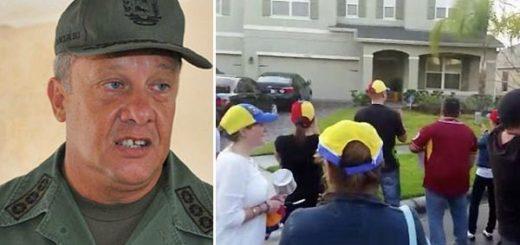 Venezolanos protestan frente a la casa de exedecán de Chávez, en Orlando