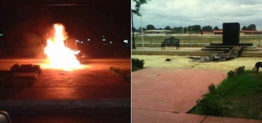 Estatua de Chávez incinerada | Fotos: Twitter