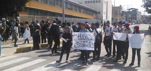 Estudiantes del liceo Libertador prrtestaron este martes | Foto: Twitter