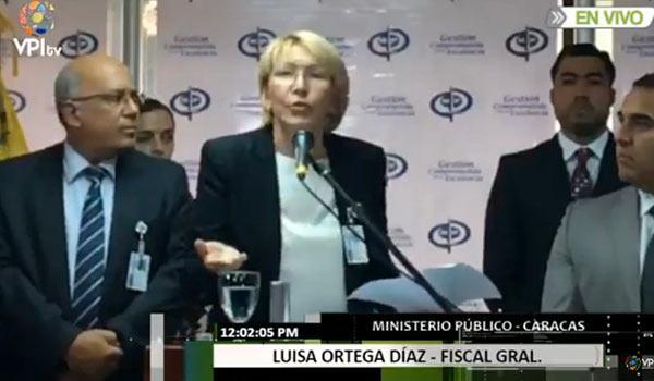 Fiscal General, Luisa Ortega Díaz | Foto: Captura de video