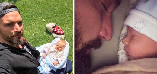 Julián Gil incumplió acuerdo y mostró el rostro de su bebé | Composición