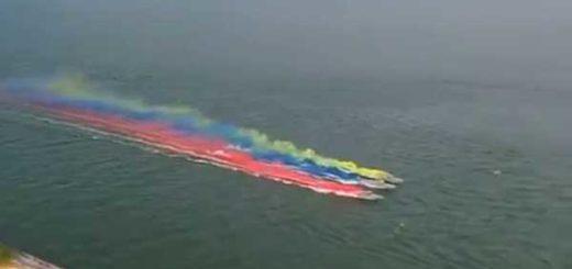 Aguas del Lago de Maracaibo se tiñen con la bandera de Venezuela | Captura de video