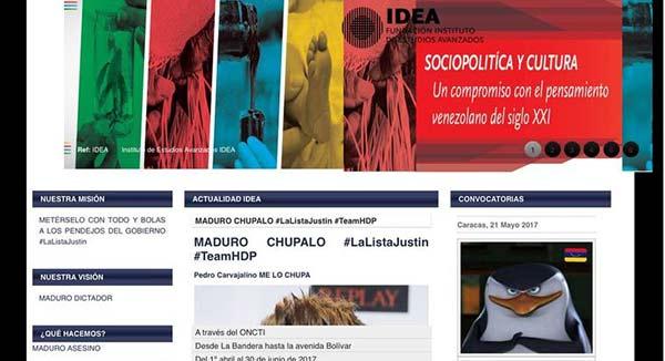 Hackers atacan página de IDEA | Captura de pantalla