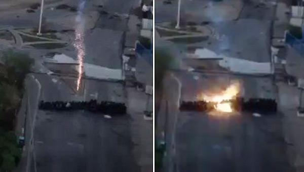 Uso de mortero contra policías | Captura de video