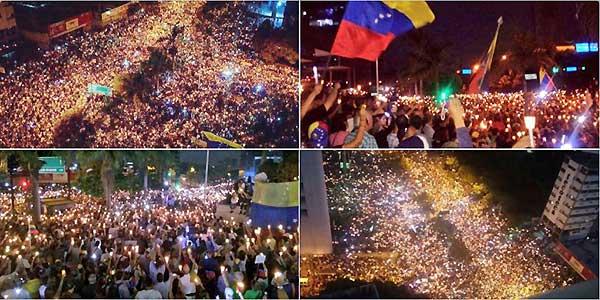 Protesta nocturna en Venezuela   Foto: Twitter