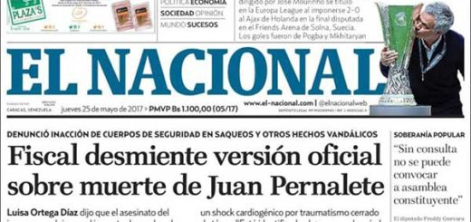 Portada del diario El Nacional | Foto: kiosko.net