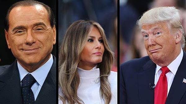 Silvio Berlusconi /Melania y Donald Trump  Composición: Notitotal