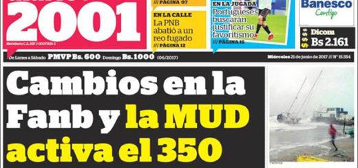 Portadas de los diarios nacionales de este #21Jun | Foto: kiosko.net