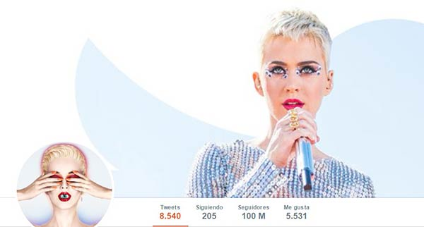 Perfil de Katy Perry en Twitter |Captura