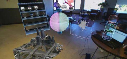 El sistema superpone hologramas en una oficina real, permitiendo manipular elementos con las manos |Foto: METAVISION.COM