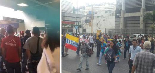 Oficialistas corrieron a opositores que se concentraban en Parque Central | Composición