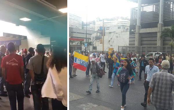 Oficialistas corrieron a opositores que se concentraban en Parque Central   Composición