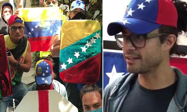 Así protesta este famoso actor venezolano en México | Composición