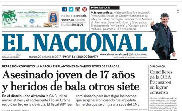 Portada de diario nacional | Foto: Kiosko.net