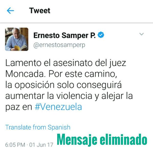 El polémico tuit de Samper que generó fuertes críticas   Créditos: @lilianamelo