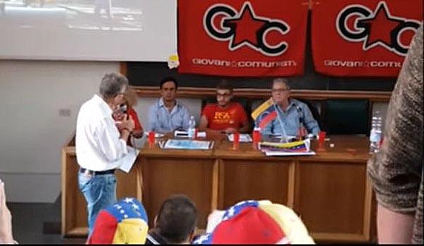 Profesor venezolano enfrentó a Isaías Rodríguez en Italia   Captura de video