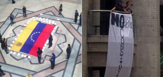 Protesta en C.C. El Recreo   Fotos: @jesusarmasccs