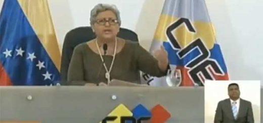 Tibisay Lucena, Presidenta del CNE   Foto: Captura de video