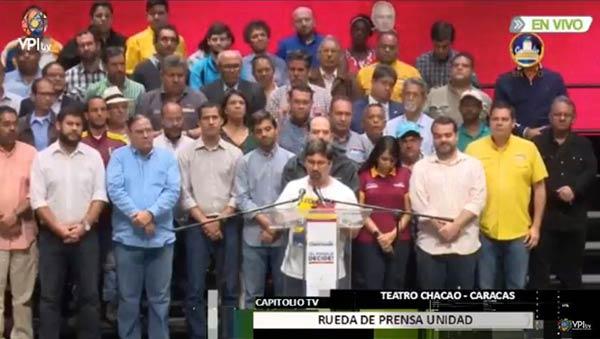 Freddy Guevara encabeza el pronunciamiento de la MUD |Captura de pantalla