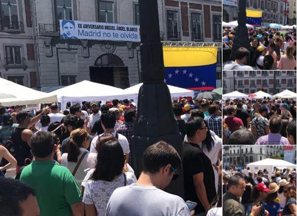 Venezolanos en Madrid dicen sí,sí, sí #16Jul |Foto:  @AlbertoRT51