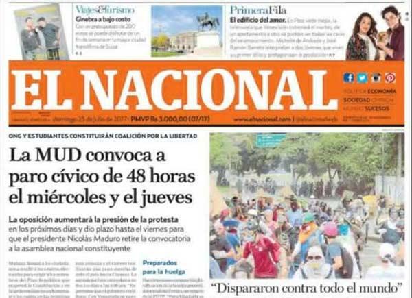 Portada de diario nacional  Cortesía: Kiosko.net